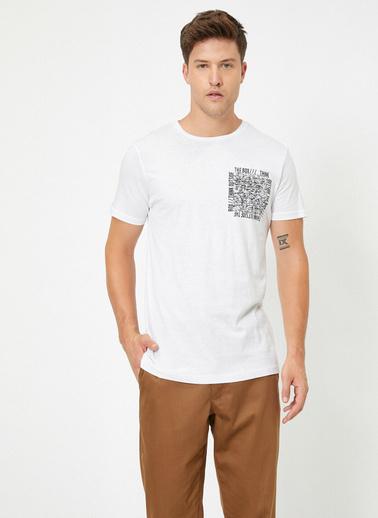 Koton Yazili Baskili Kisa Kollu T-Shirt Beyaz